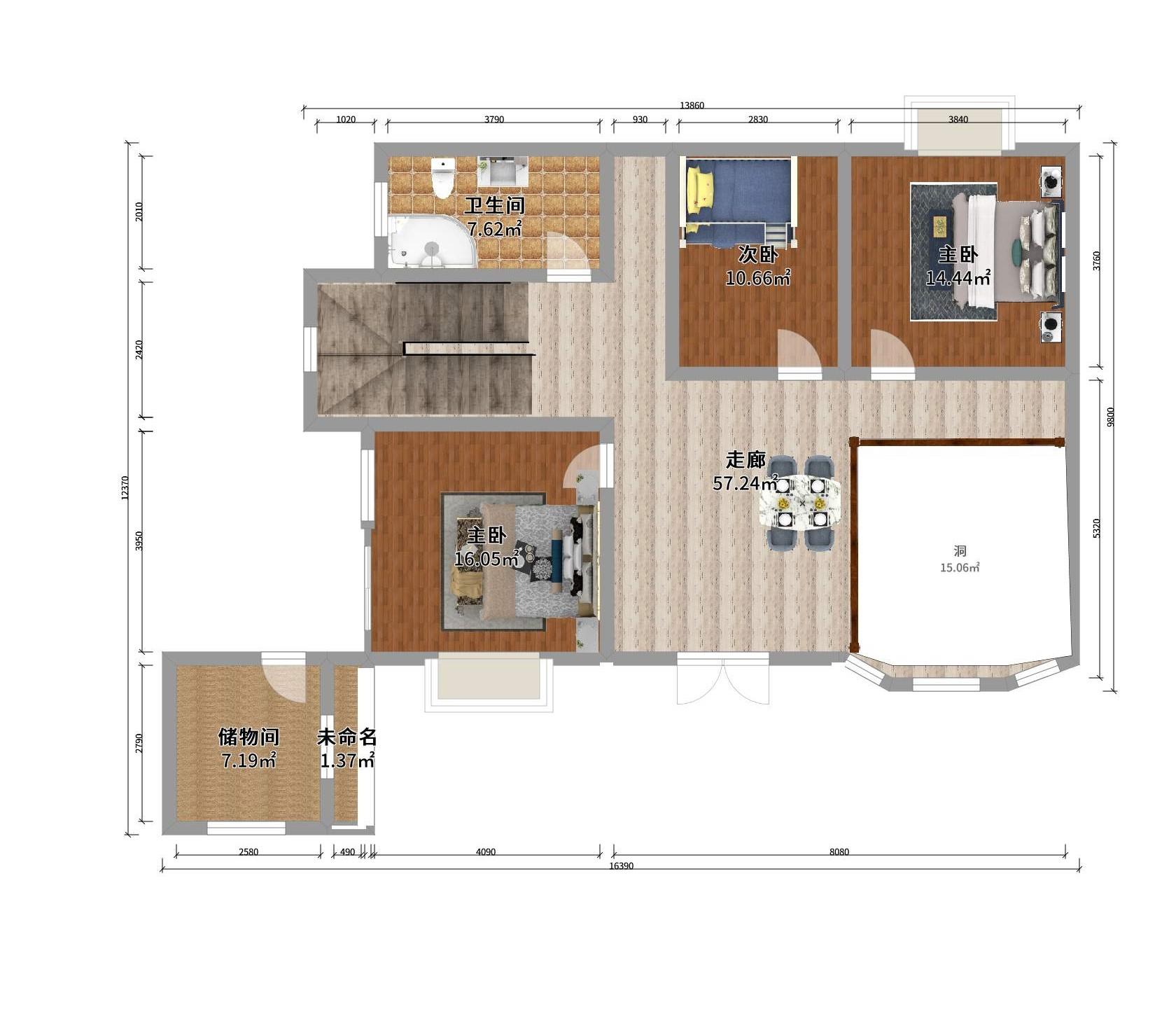 整体户型是农村自建房三间两层半,宽12米,长9米左右,房还没建,楼梯间